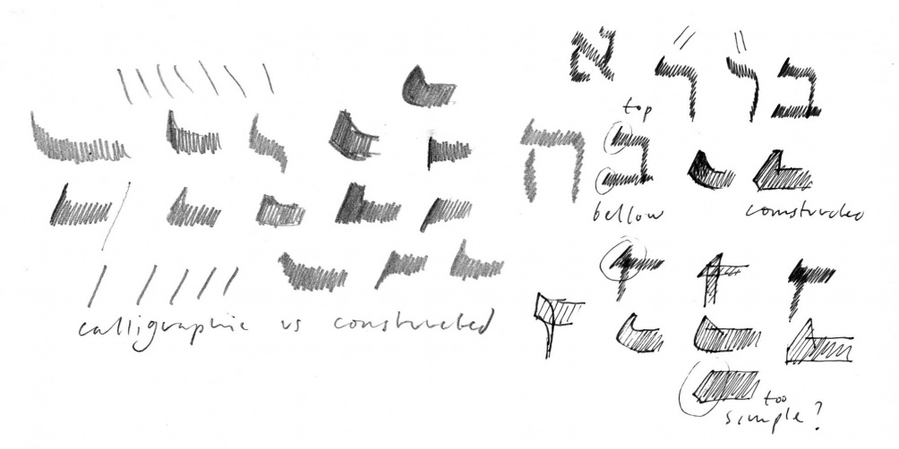 Early sketches of Hebrew letter terminations by Peter Biľak.