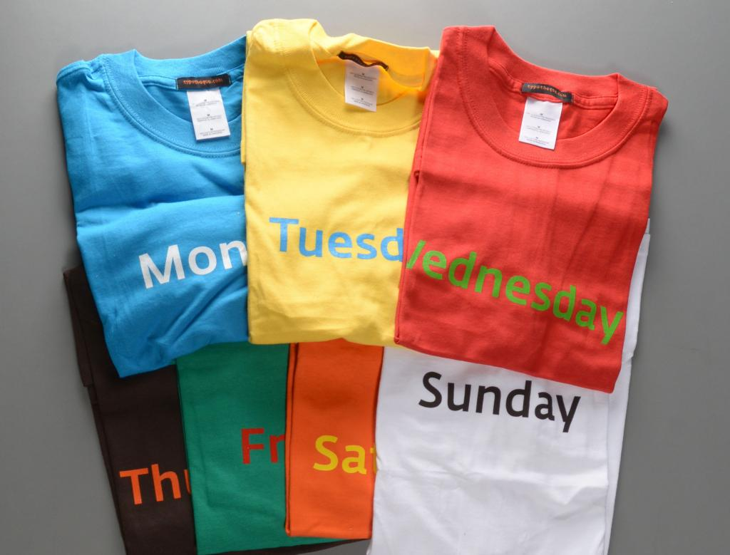 70fe21c2f Typotheque: Colour of the Day (7 t-shirts) by Johanna Biľak